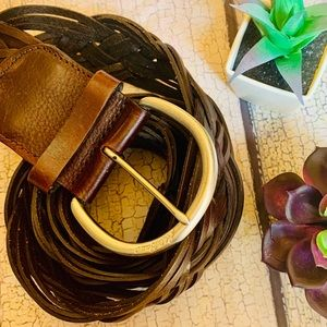 {EDDIE BAUER} Leather Boho Braided Belt